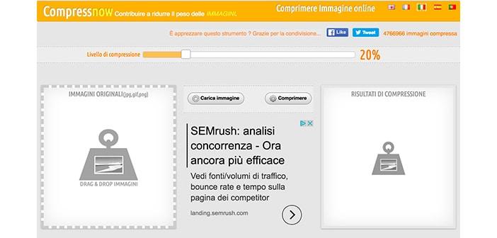 compressnow tool online ridimensionare foto