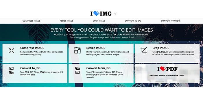iloveimg tool online ridimensionare foto