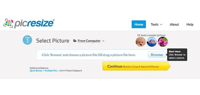 picresize tool online ridimensionare foto