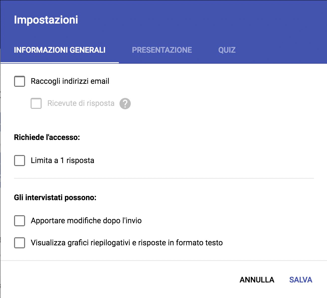 impostazioni google moduli