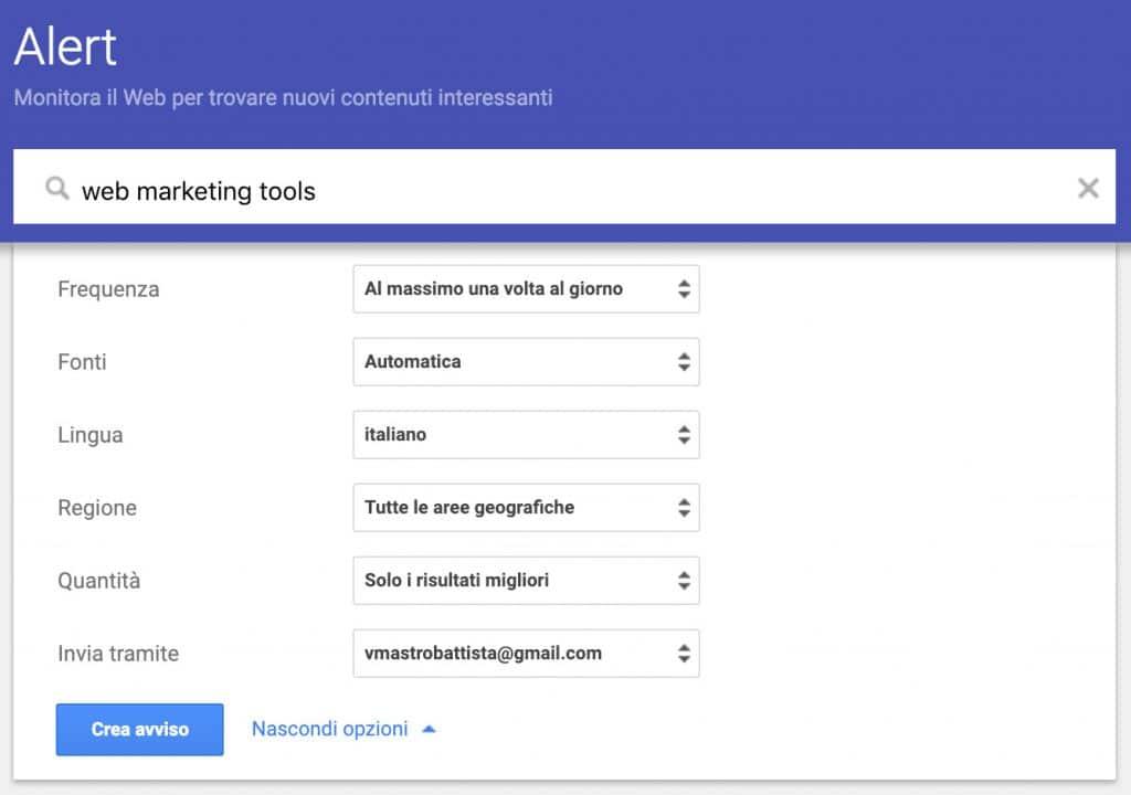 Nuovo avviso con Google Alert