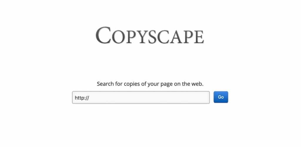 Copyscape interfaccia