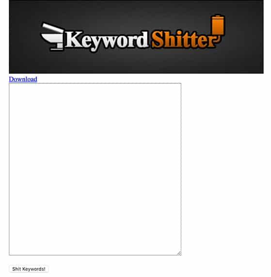 Keyword Shitter Interfaccia