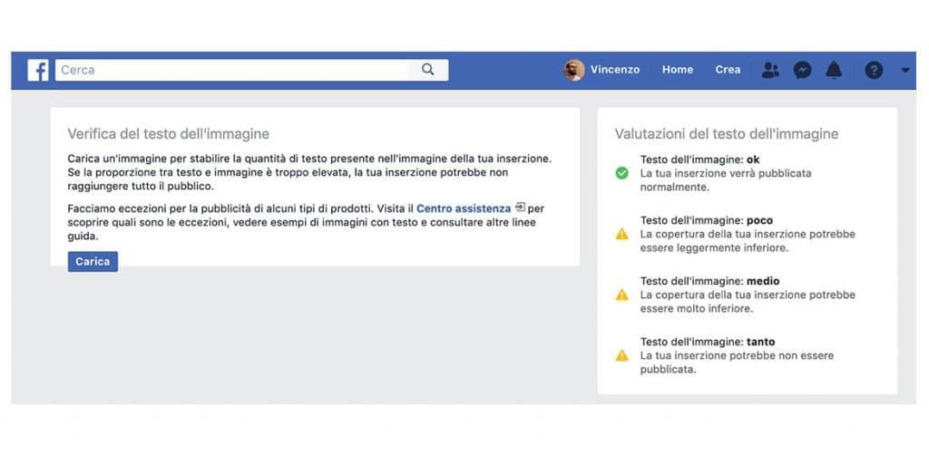 Facebook Text Overlay Interfaccia