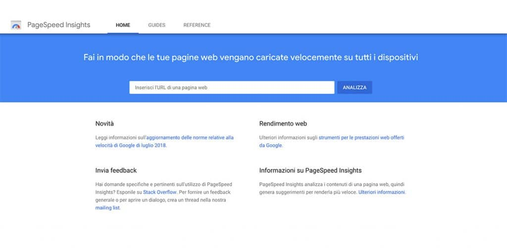 Google PageSpeed Insights Interfaccia
